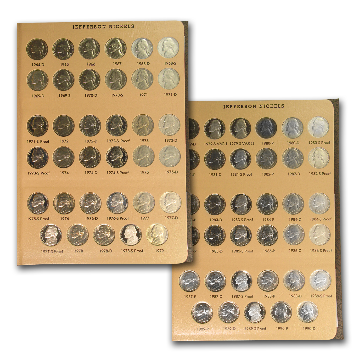 1938-2016 225-Coin Jefferson Nickel Set BU/Proof (Dansco Album)