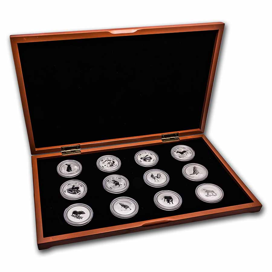 1999-2010 Australia 12-Coin 1 oz Silver Lunar Set (SI, Wood Box)