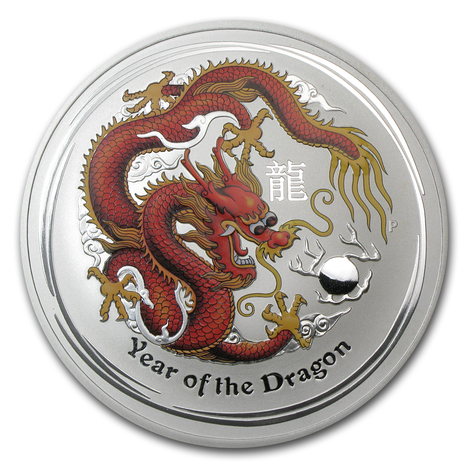 2012 Australia 10 oz Silver Year of the Dragon BU (Colorized)