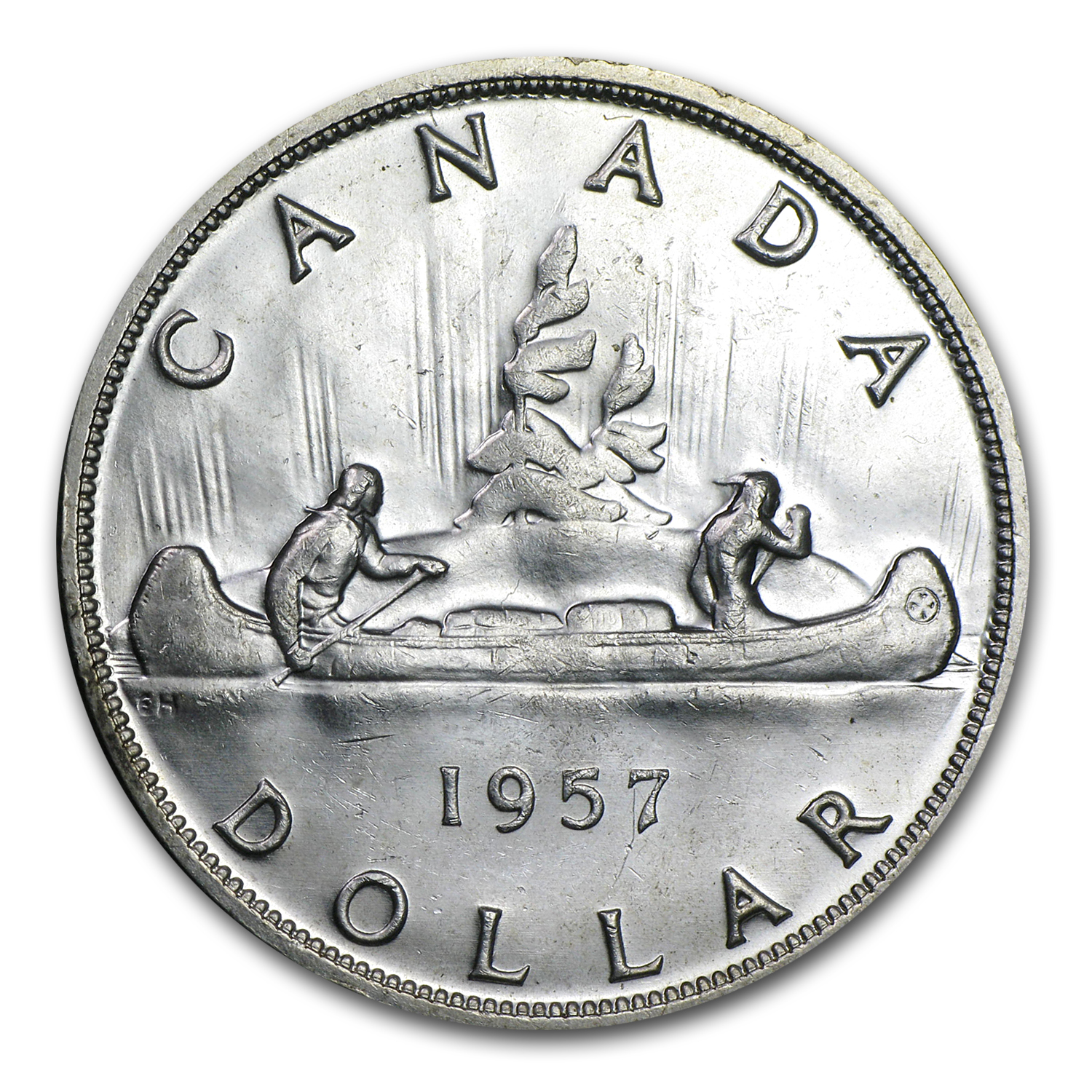 1957 Canadian Silver Dollar (Almost Uncirculated)