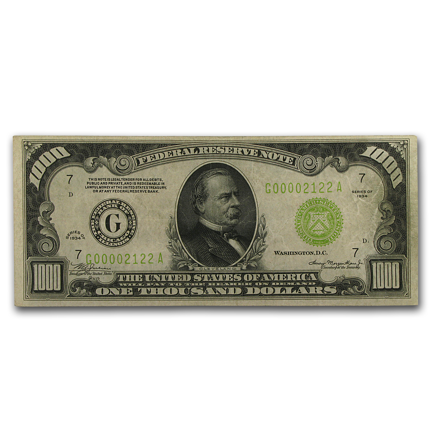 1934 (G-Chicago) $1,000 FRN VF+ (Light Green Seal)