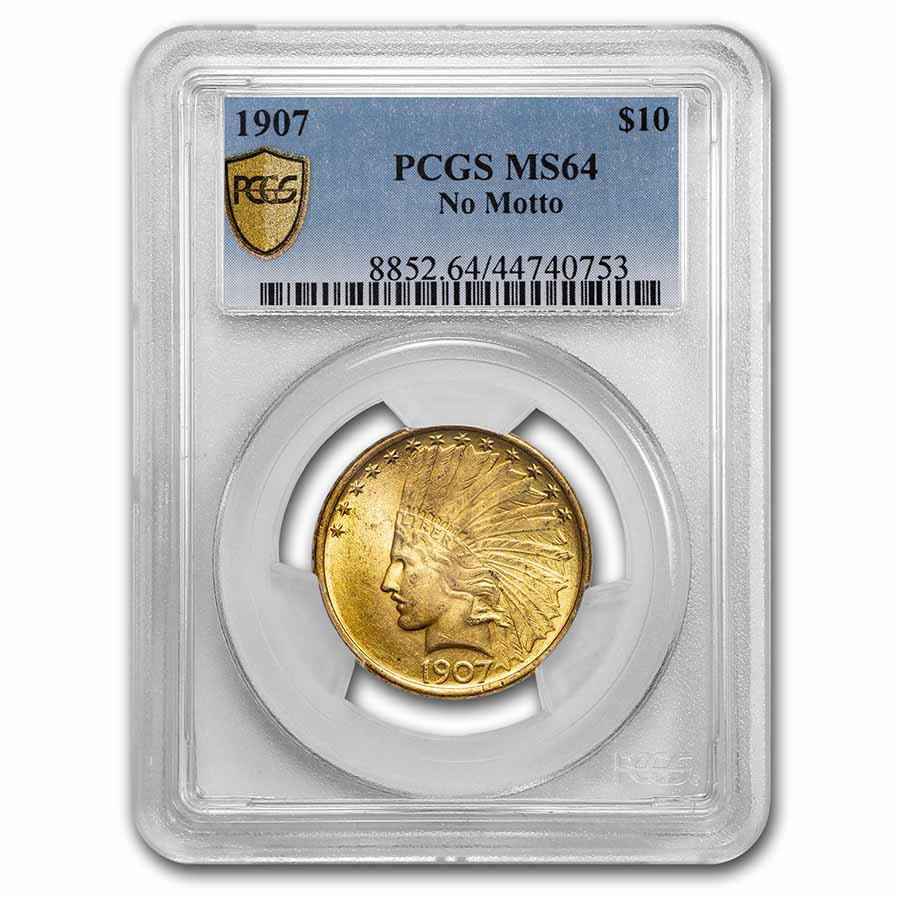 1907 $10 Indian Gold Eagle No Motto MS-64 PCGS