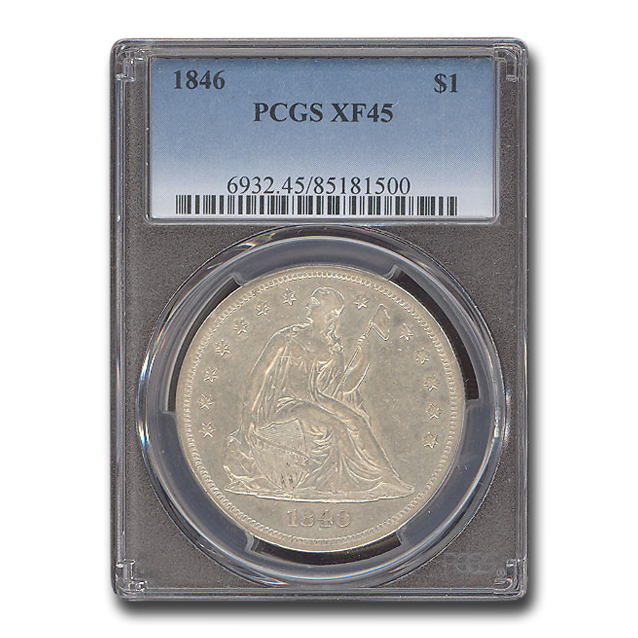 1846 Liberty Seated Dollar XF-45 PCGS