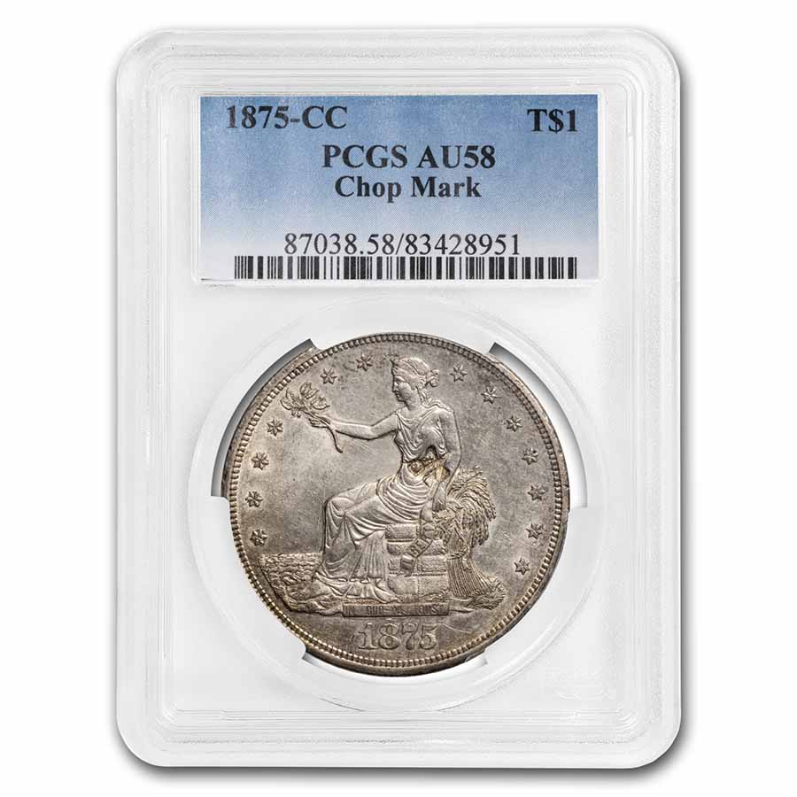 1875-CC Trade Dollar - Almost Uncirculated-58 Chop Mark PCGS