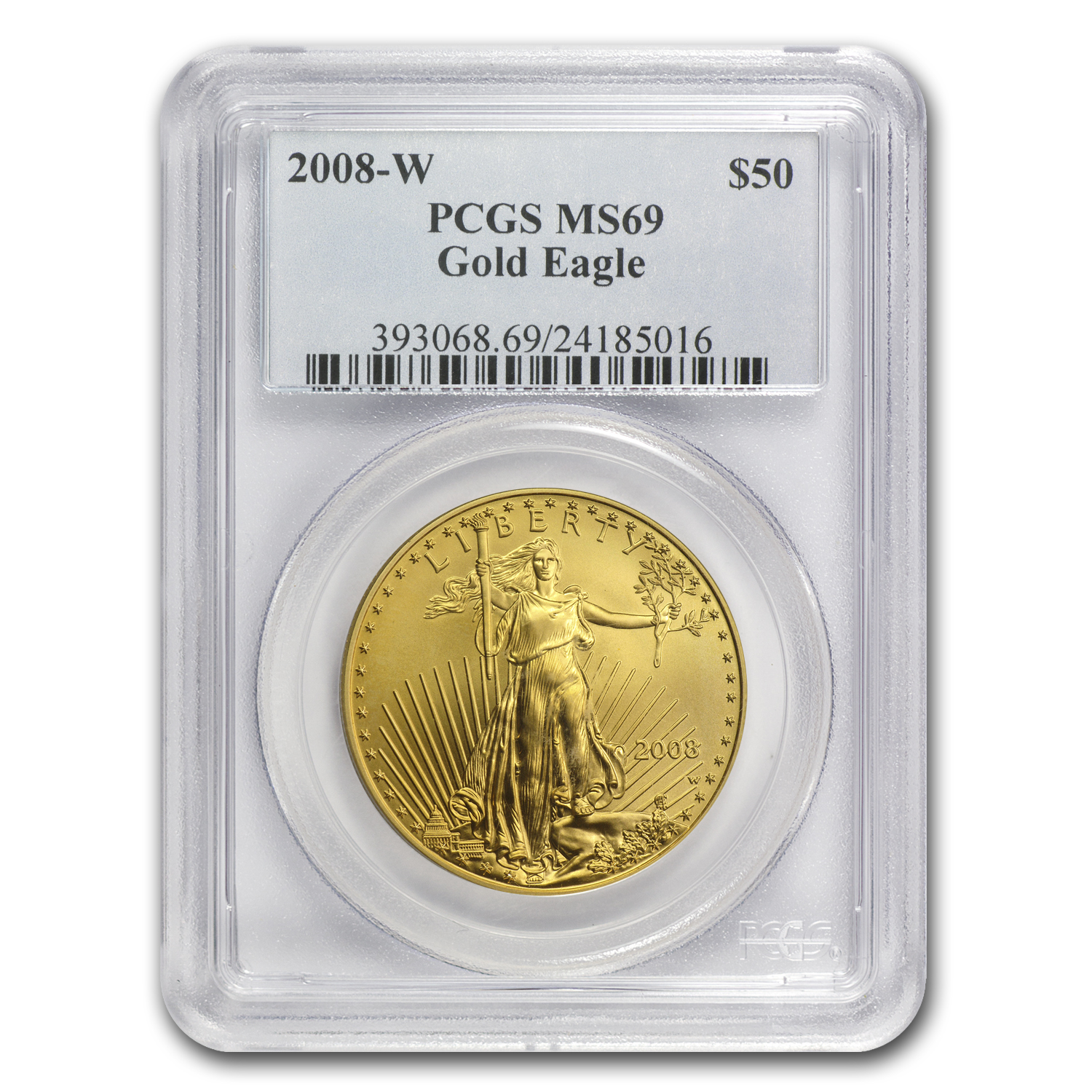 2008-W 1 oz Burnished Gold Eagle MS-69 PCGS