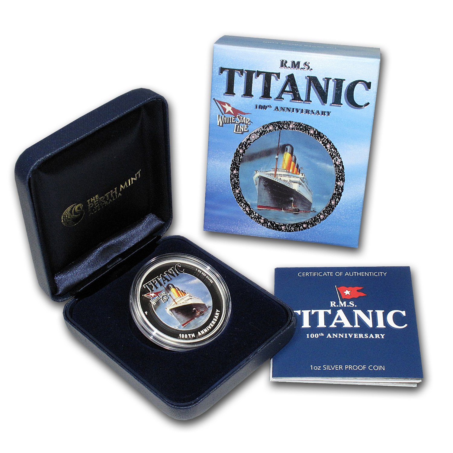 2012 Tuvalu 1 oz Silver R.M.S. Titanic Proof (100th Anniversary)