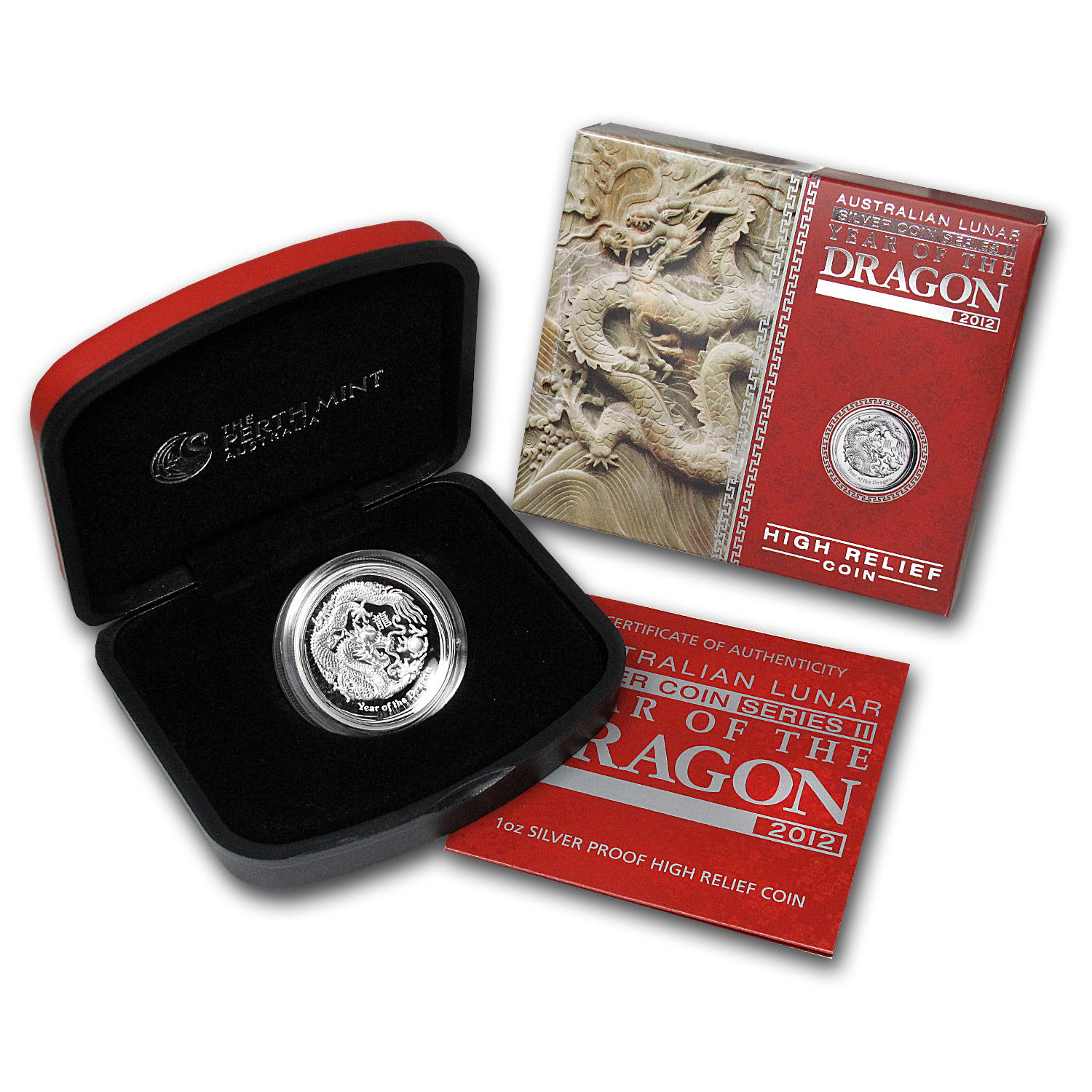 2012 1 oz Silver Year of the Dragon High Relief Proof Coin
