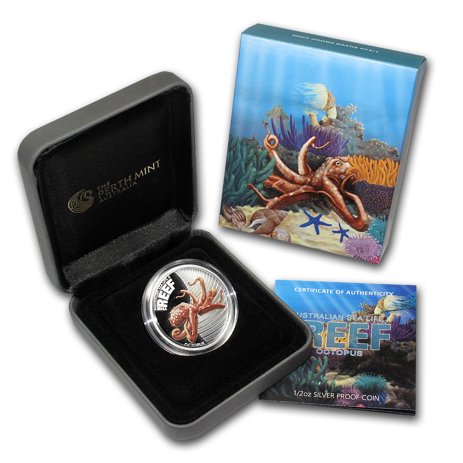2012 1/2 oz Proof Silver Octopus - Sea Life II Series