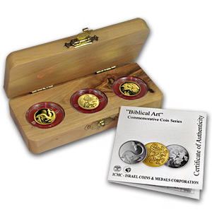 2009-11 Israel 3-Coin 1/25 oz Gold Biblical Art Series Proof Set