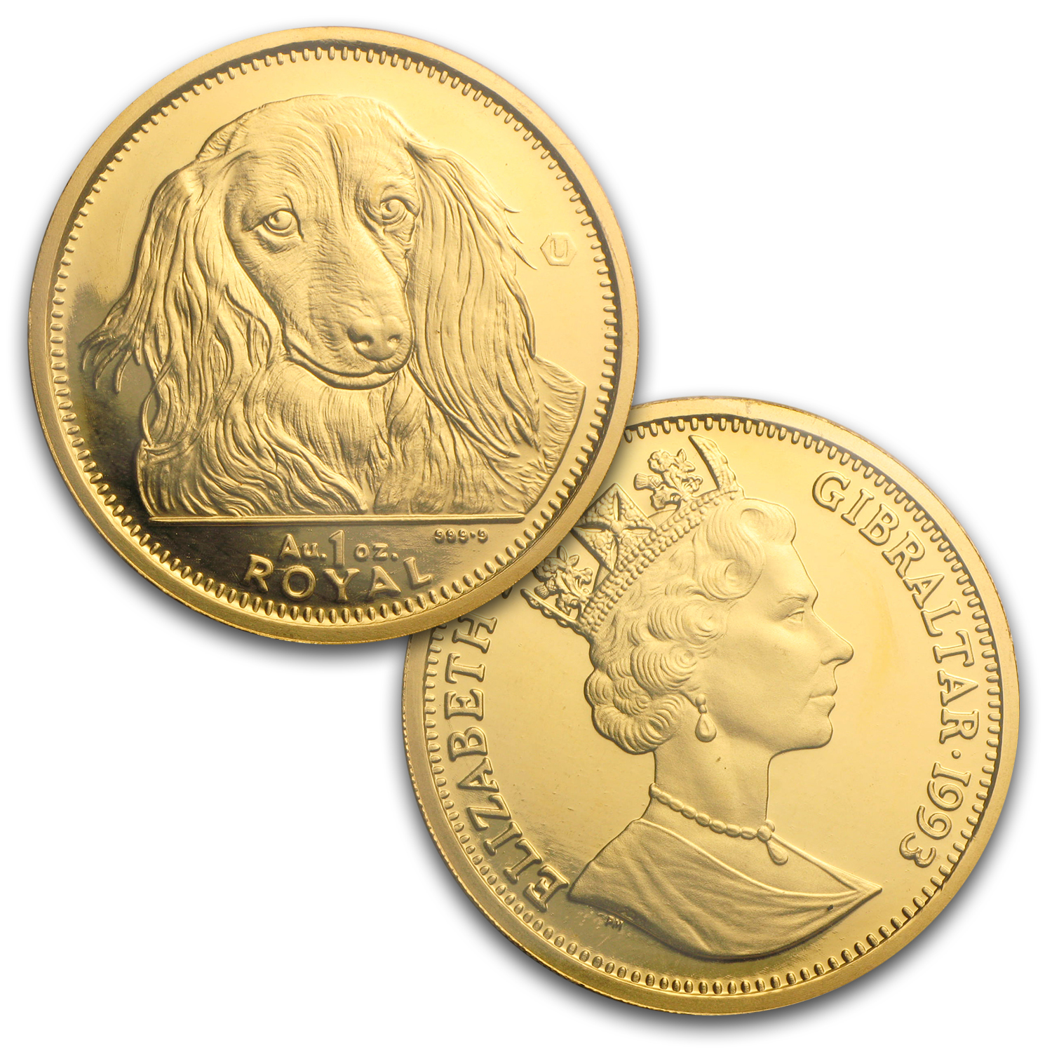 1993 Gibraltar 5-Coin Gold Long Haired Dachshund Set BU