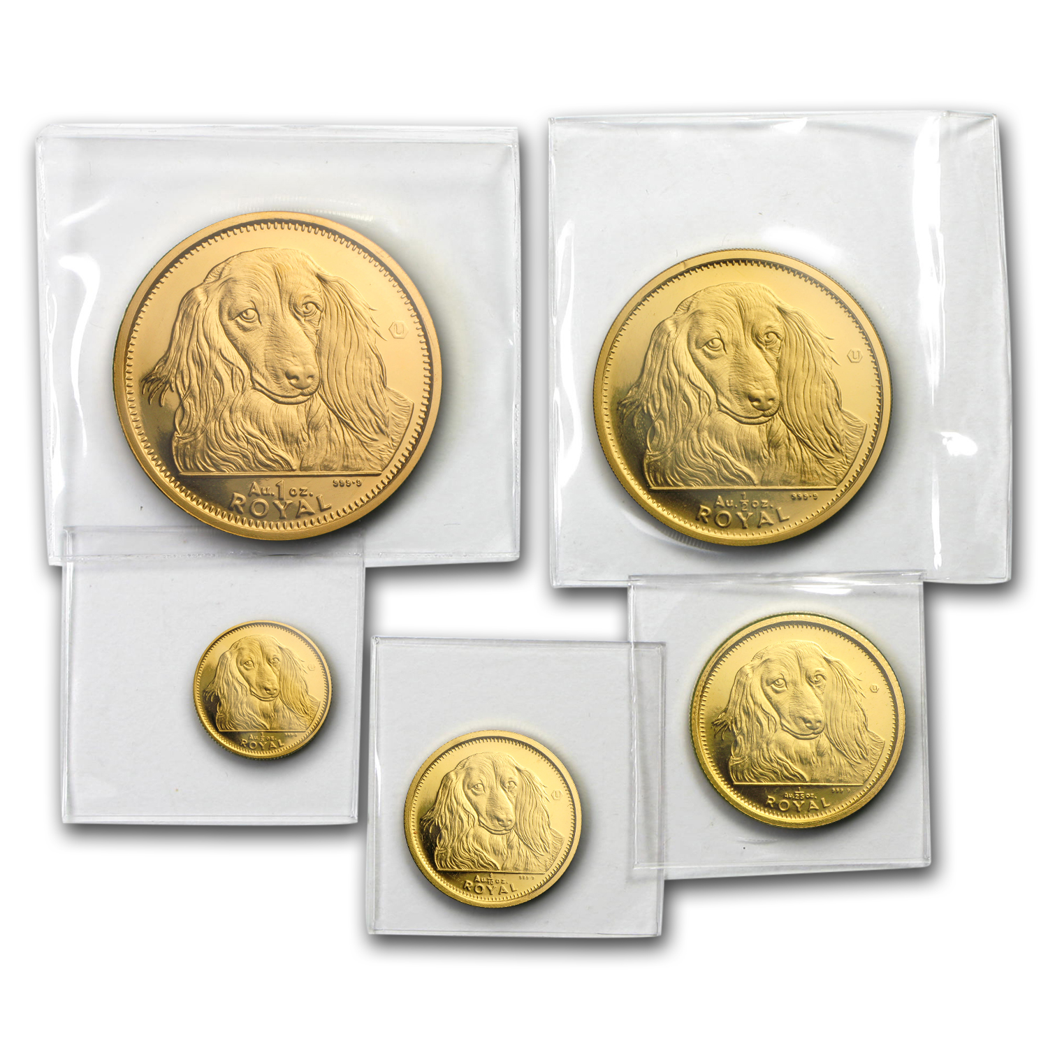 1993 Gibraltar Gold Long Haired Dachshund 5 Coin Set 1.89 oz AGW