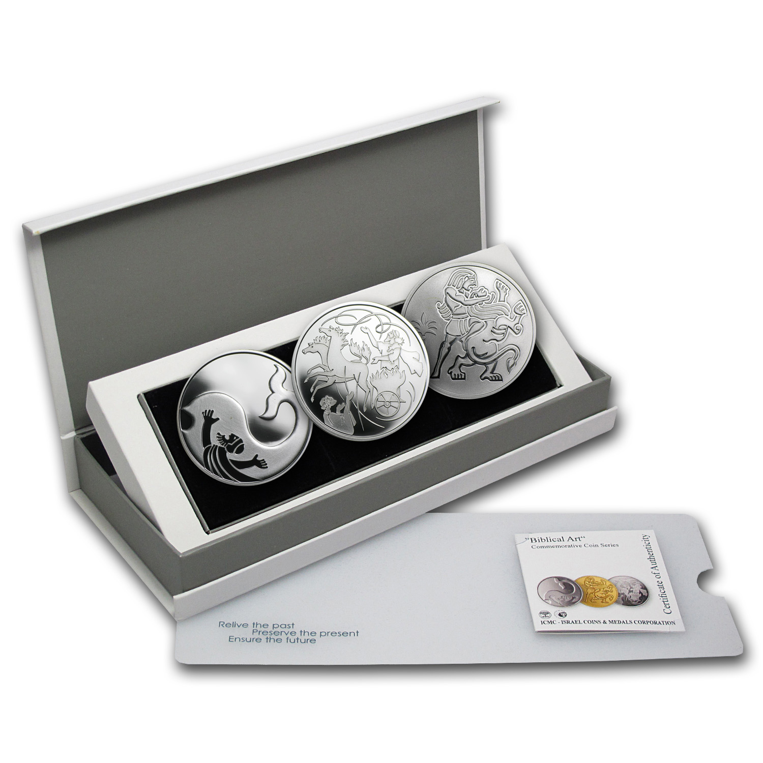 Israel Biblical Art Series 1 NIS Silver 3-Coin Set