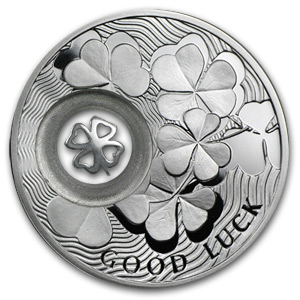 2010 Niue Proof Silver Dollar Lucky Four-Leaf Clover