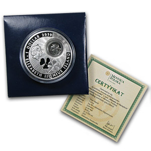 Niue 2010 Proof Silver Dollar - Lucky Four-Leaf Clover