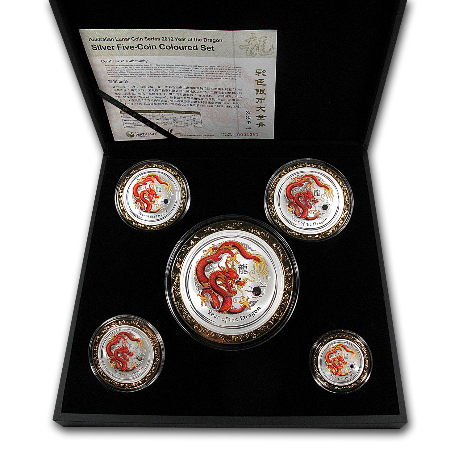 2012 5-Coin Australia Silver Dragon Set BU (Colorized)