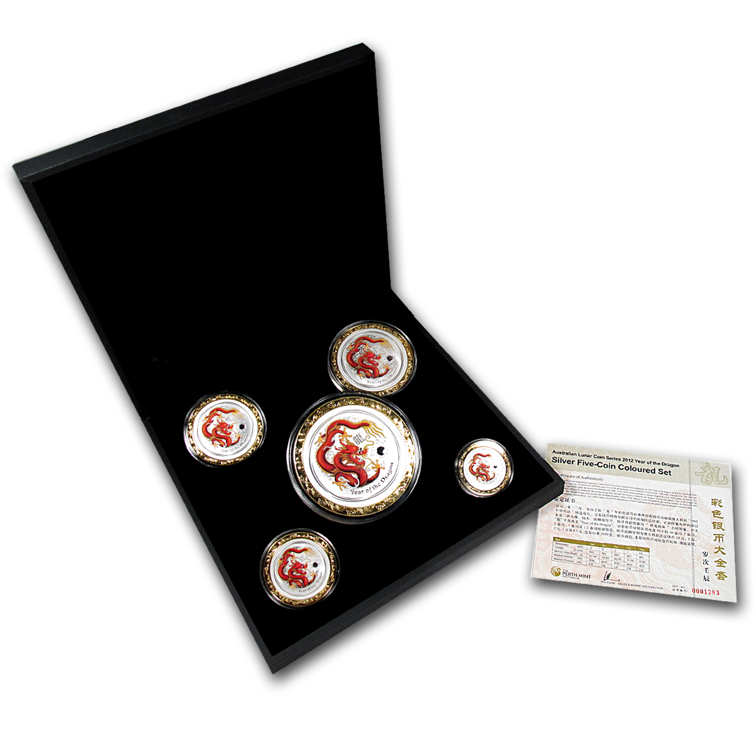 2012 Year of the Dragon Colorized 5 Coin Silver Set