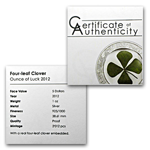 2012 Palau $5 Proof Silver Four-Leaf Clover Ounce of Luck