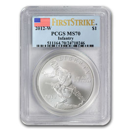 2012-W Infantry Soldier $1 Silver Commemorative MS-70 PCGS (FS)