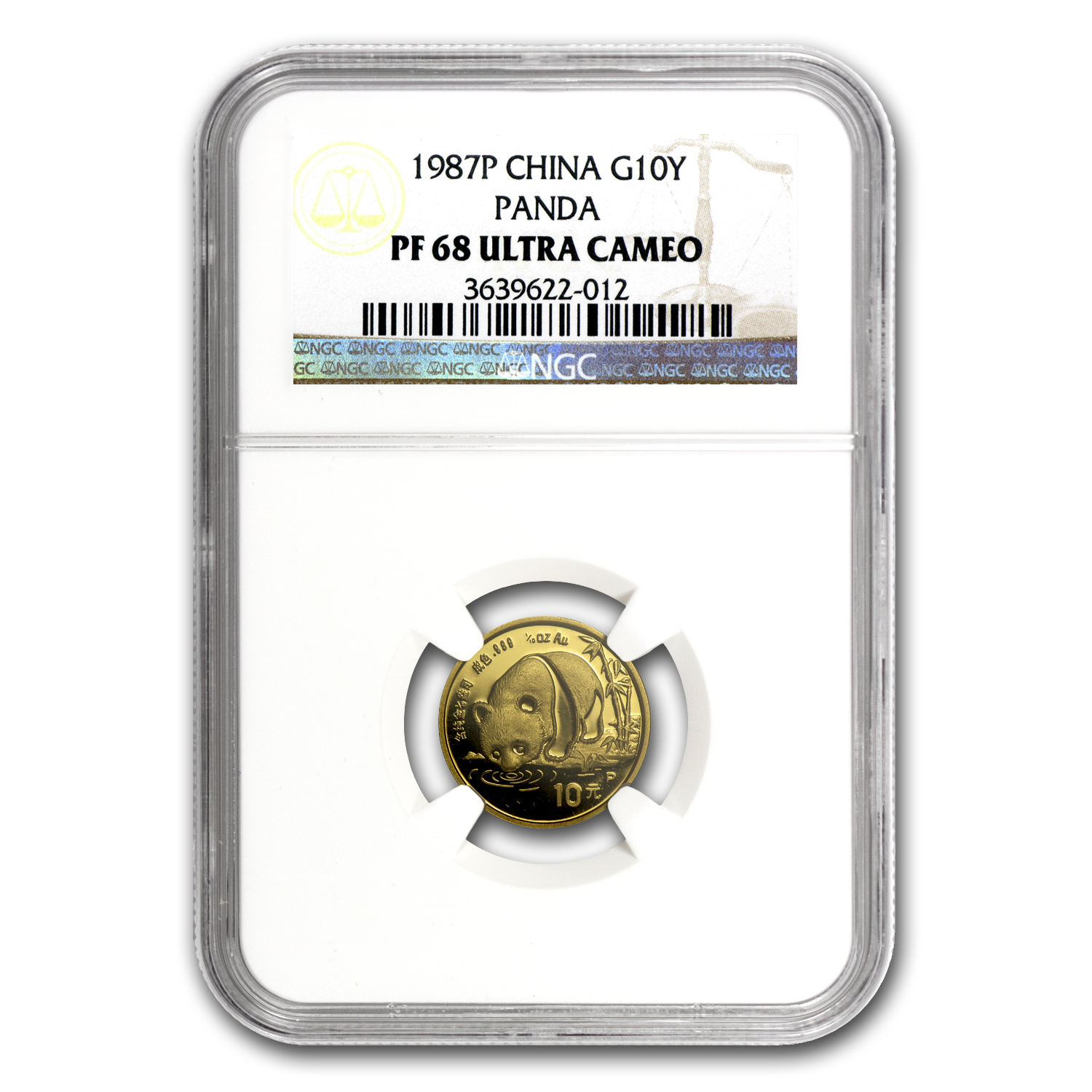 1987 (1/10 oz Proof) Gold Chinese Pandas - NGC PF-69 UCAM