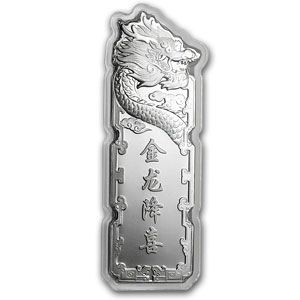 2012 China 5 gram Silver Year of the Dragon Bar (Colorized)