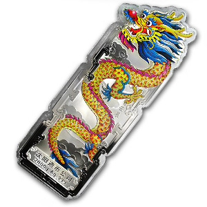 2000 gram Silver Bar - Year of the Dragon (2012/Colorized)