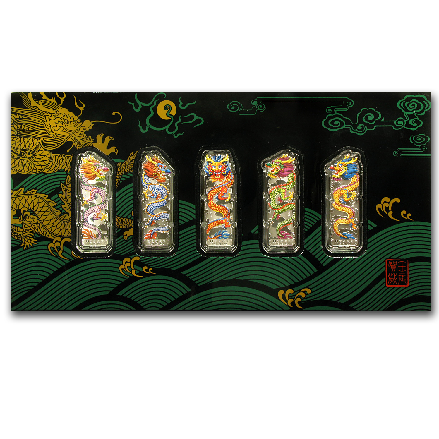 10 gram Silver Bars - Year of the Dragon (2012/Colorized/5 pc.)
