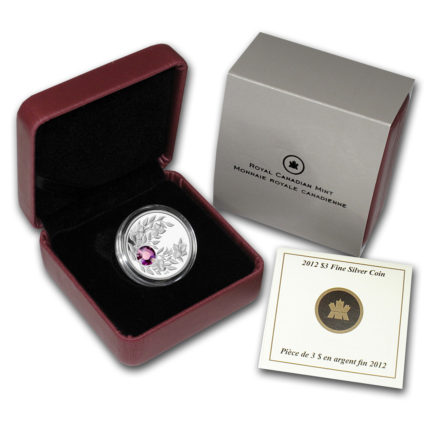 2012 1/4 oz Silver Canadian $3 Birthstone Coin February Amethyst