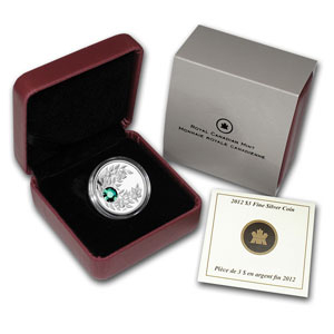 2012 1/4 oz Silver Canadian $3 Birthstone Coin May Emerald