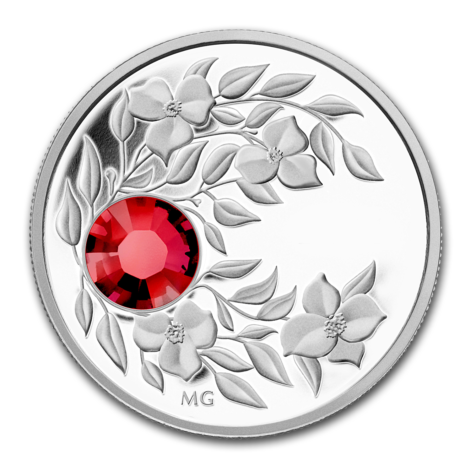 2012 Canada 1/4 oz Silver $3 Birthstone Coin July Ruby