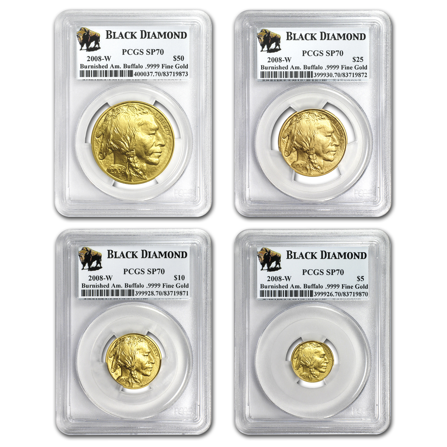 2008-W 4-Coin Gold Buffalo Set MS-70 PCGS (Black Diamond)