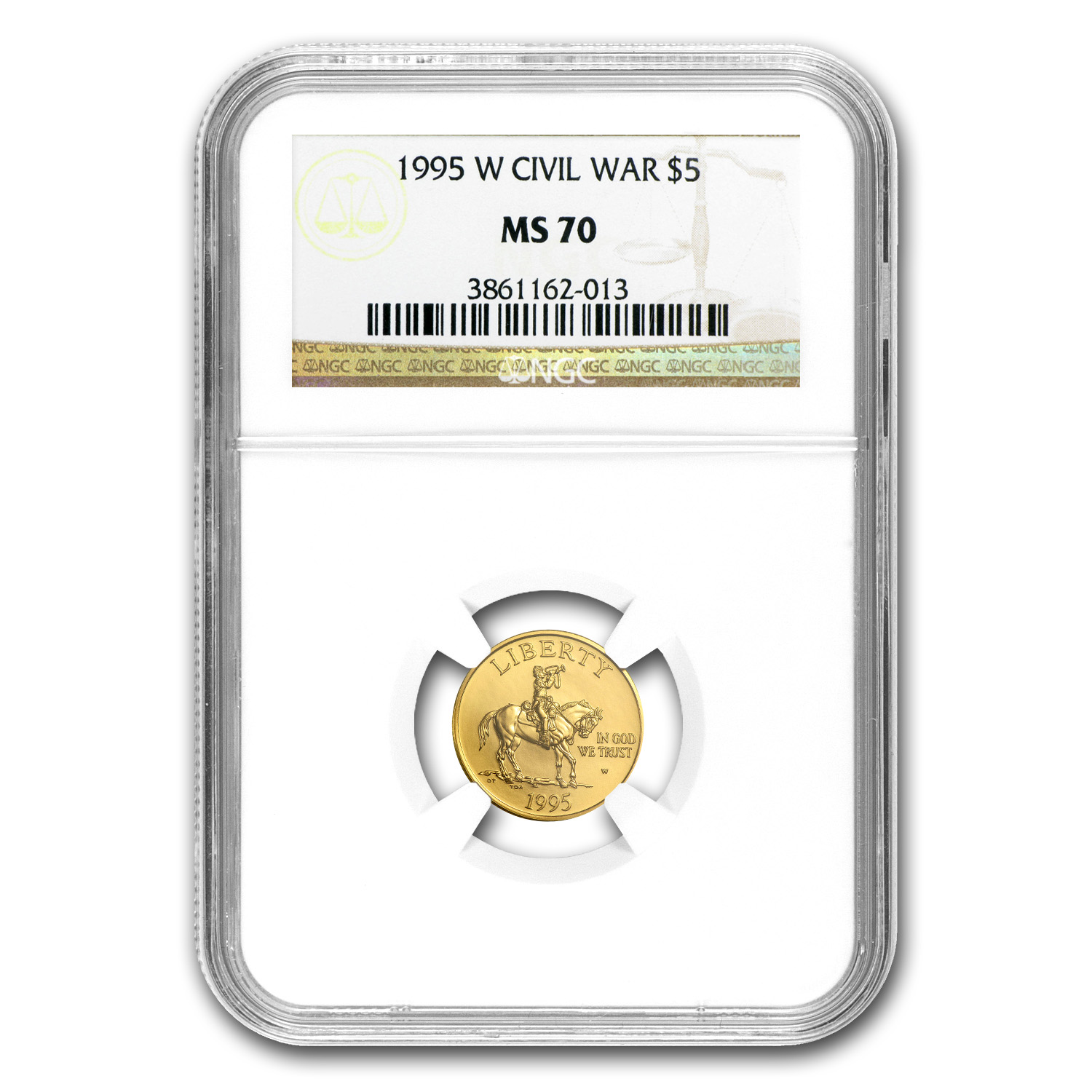 1995-W Gold $5 Commem Civil War MS-70 NGC