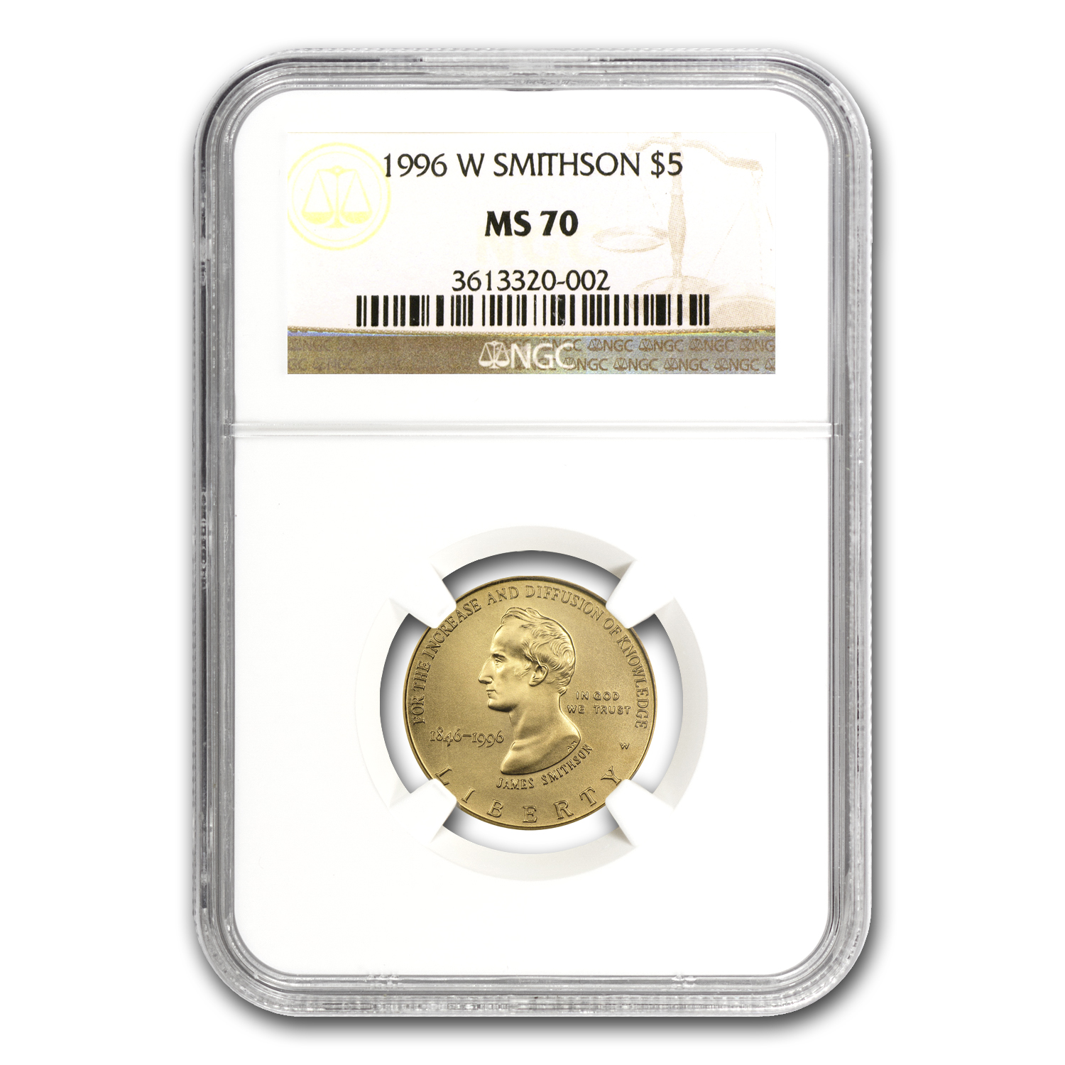 1996-W Smithsonian Anniversary - $5 Gold Commem - MS-70 NGC