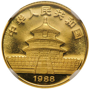 1988 (1/10 oz) Gold Chinese Pandas - MS-68 NGC