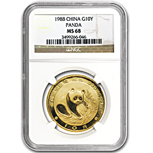 1988 China 1/10 oz Gold Panda MS-68 NGC