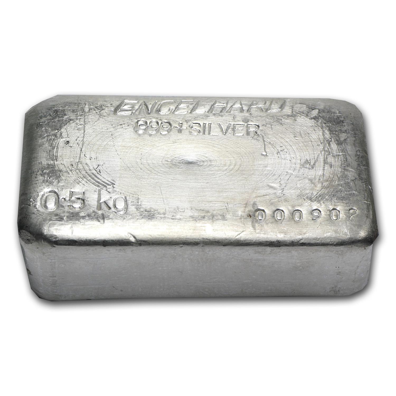 500 Gram Silver Bar Engelhard Poured 1 2 Kilo 16