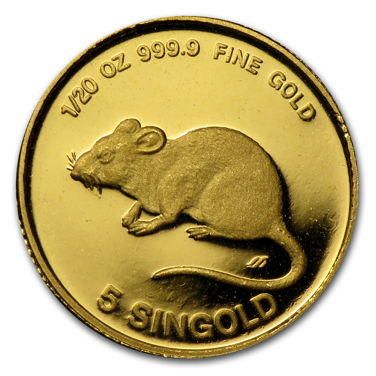 1984 Singapore 1/20 oz Proof Gold 5 Singold Year of the Rat