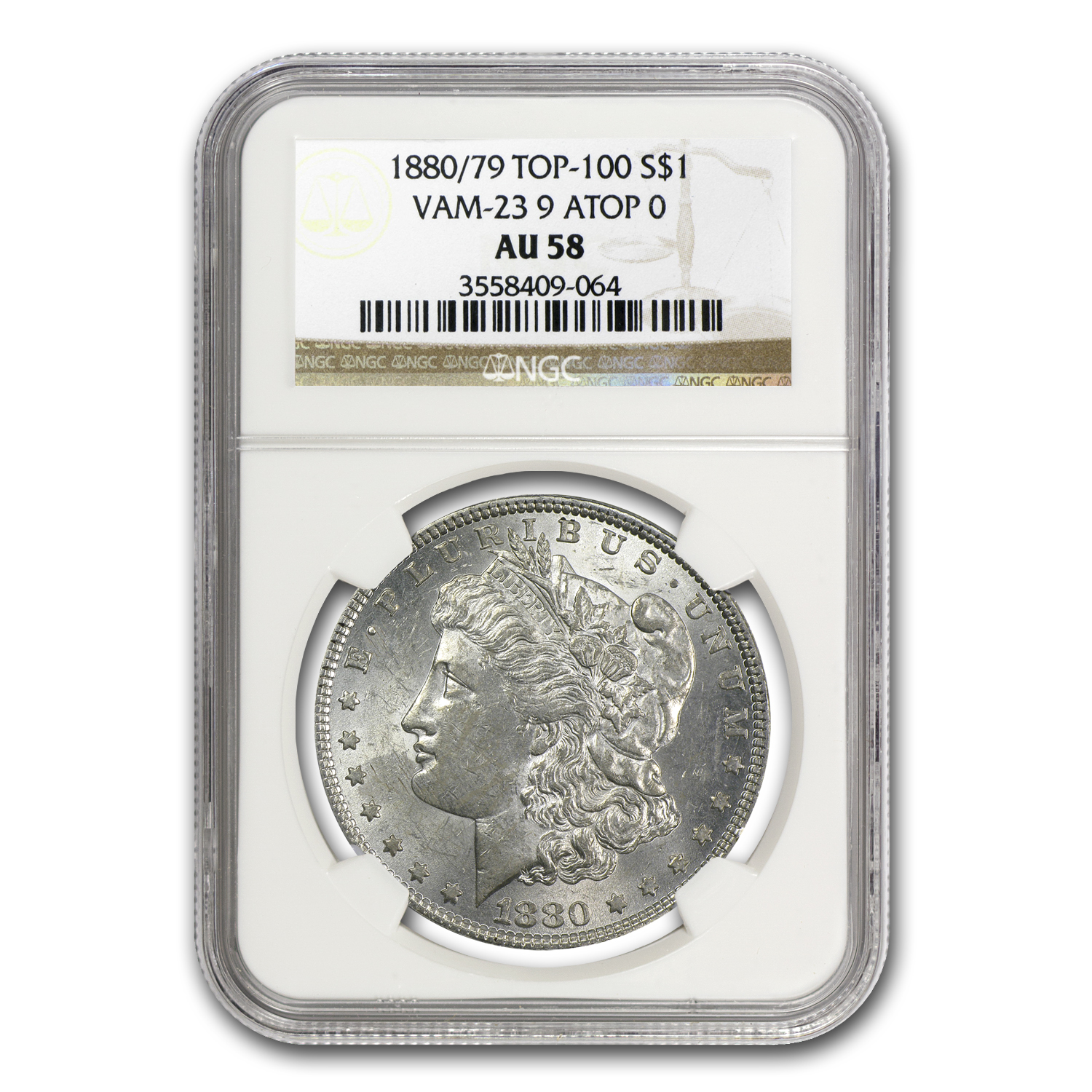 1880/79 Morgan Dollar AU-58 NGC - VAM-23 80/79 Overdate Top-100