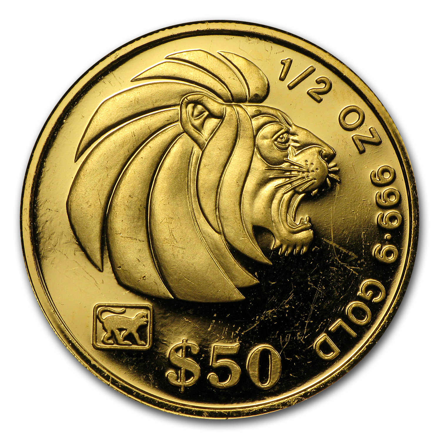 1990-Date Singapore 1/2 oz Gold $50 Lion BU/Proof (Random Years)
