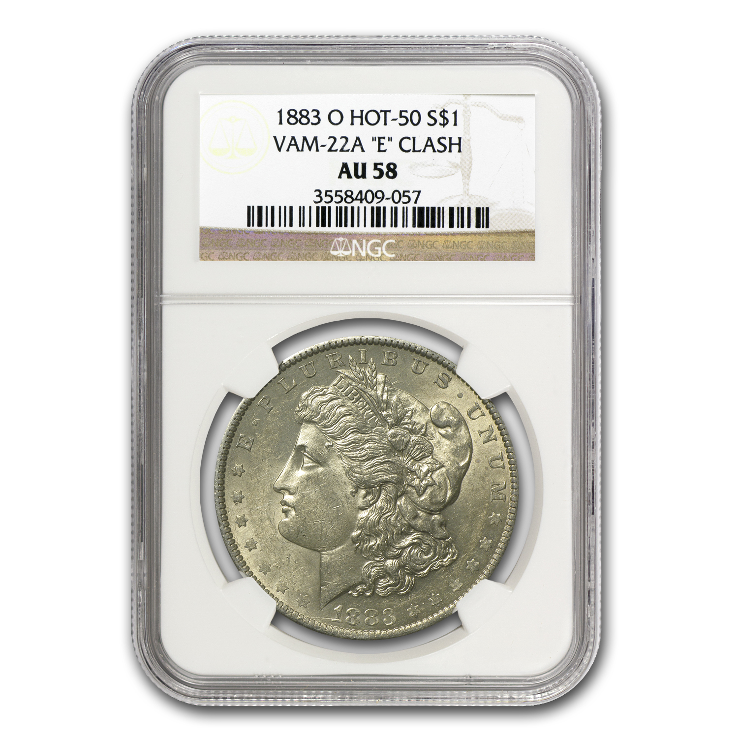 1883-O Morgan Dollar AU-58 NGC VAM-22A Partial E on Rev Hot-50