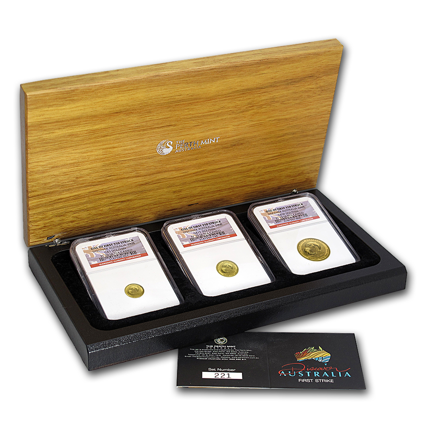 2008 3-Coin Gold Discover Australia Dolphin Set PF-70 NGC