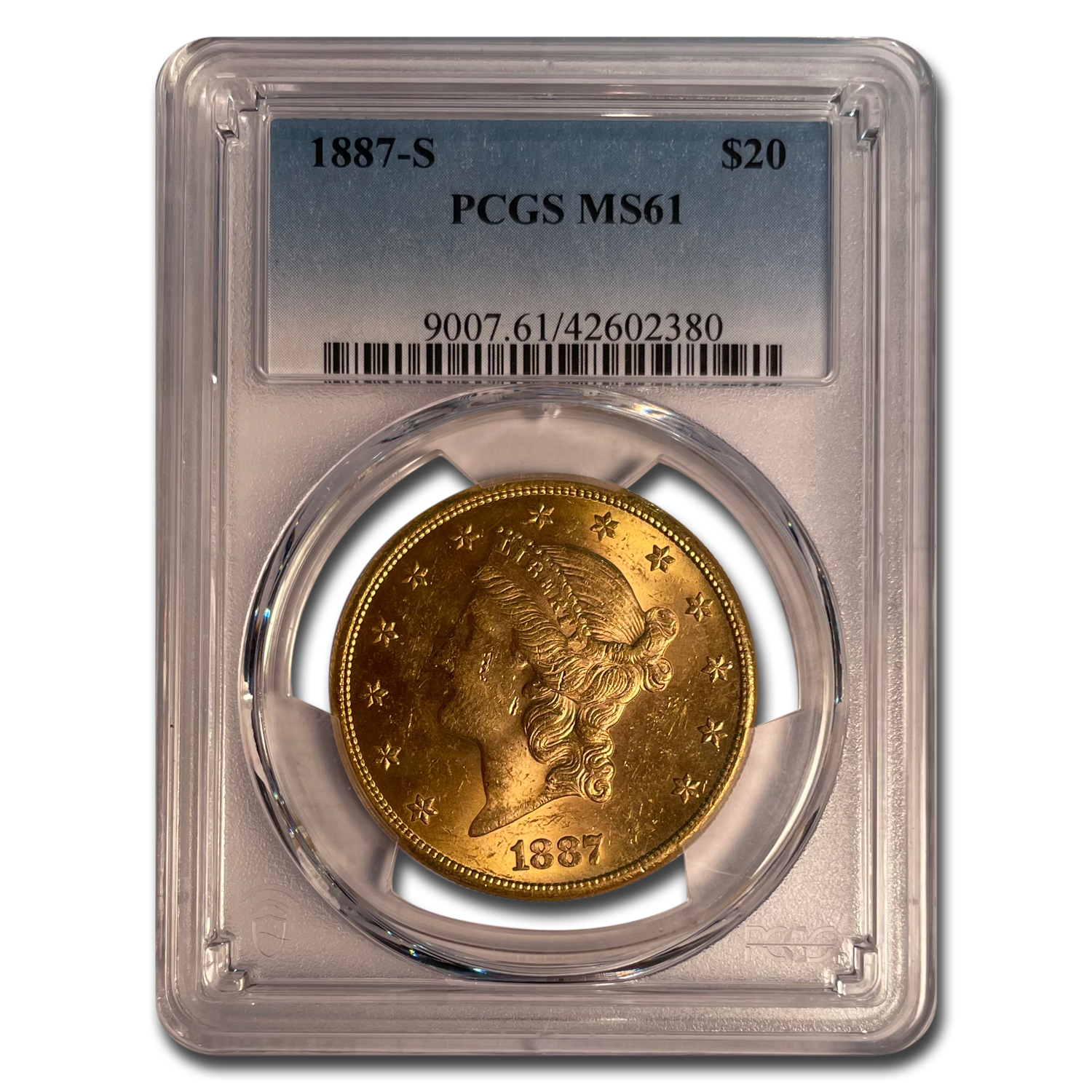 1887-S $20 Liberty Gold Double Eagle MS-61 PCGS