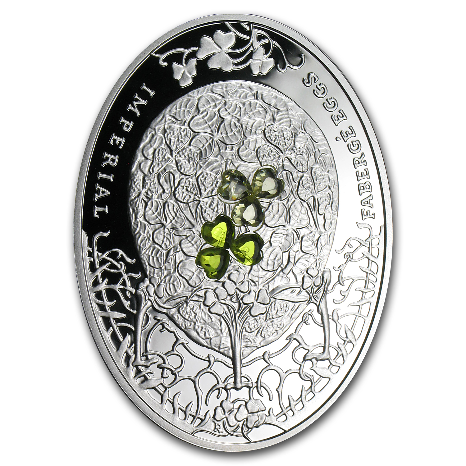 2010 Niue Proof Silver $2 Imperial Faberge Eggs Clover Leaf Egg