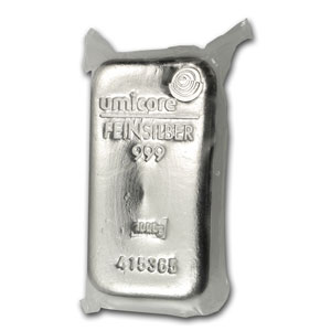 1 kilo Silver Bar - Umicore (Poured)