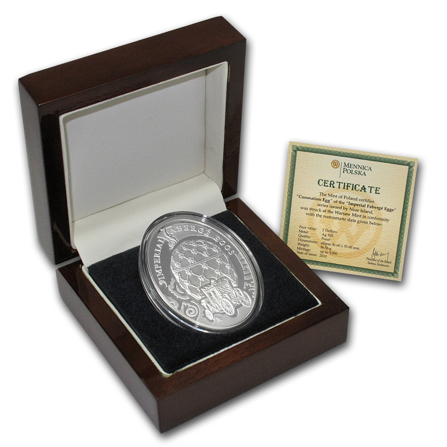 Niue 2010 Proof Silver $2 Imperial Faberge Eggs - Coronation Egg