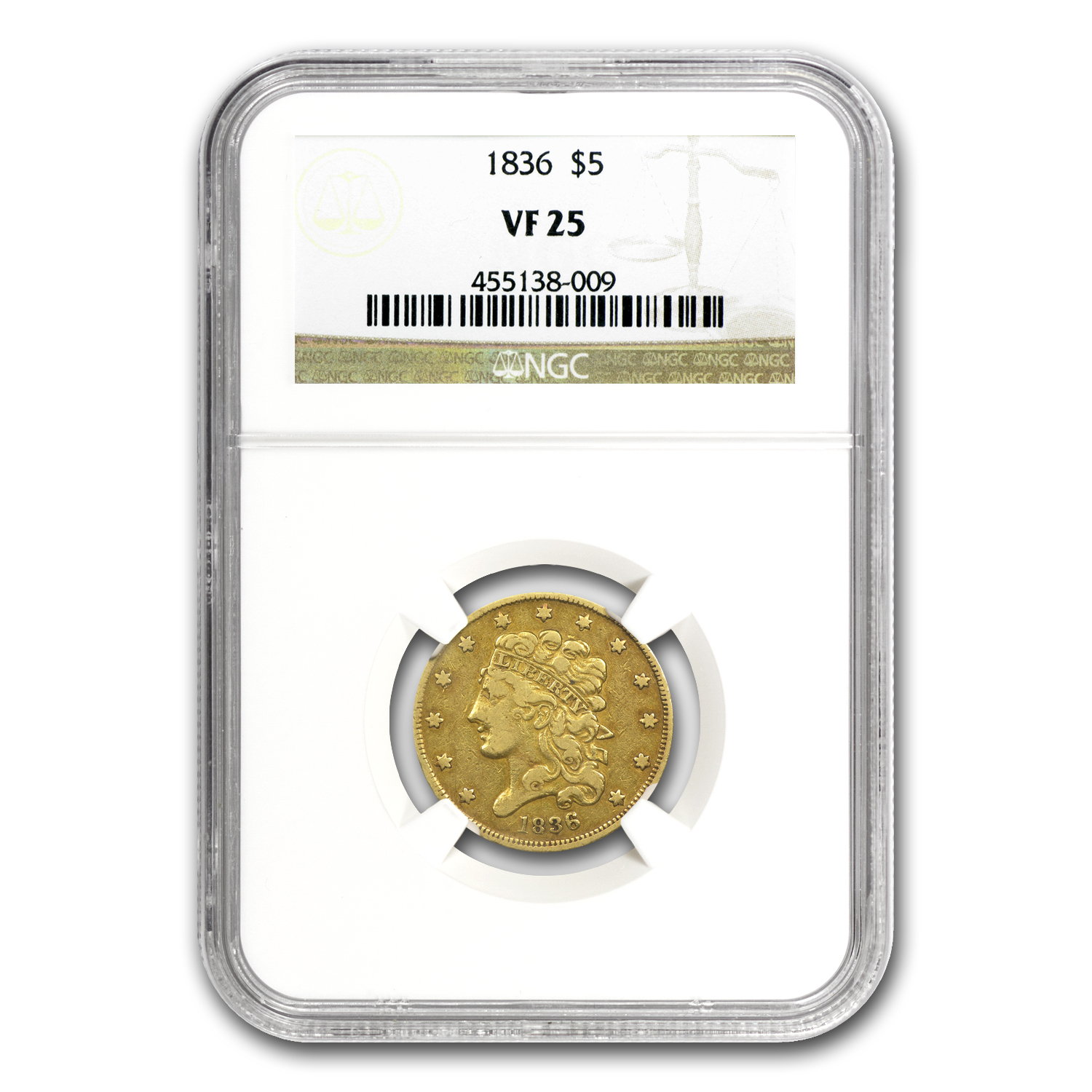1836 $5 Gold Classic Head Half Eagle Very Fine-25 NGC