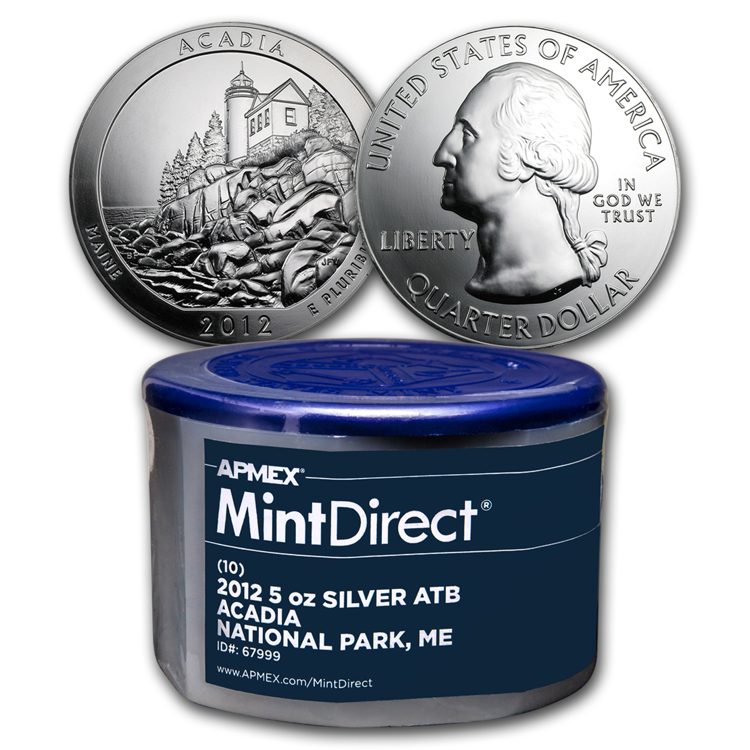 2012 5 oz Silver ATB Acadia, ME (10-Coin MintDirect® Tube)
