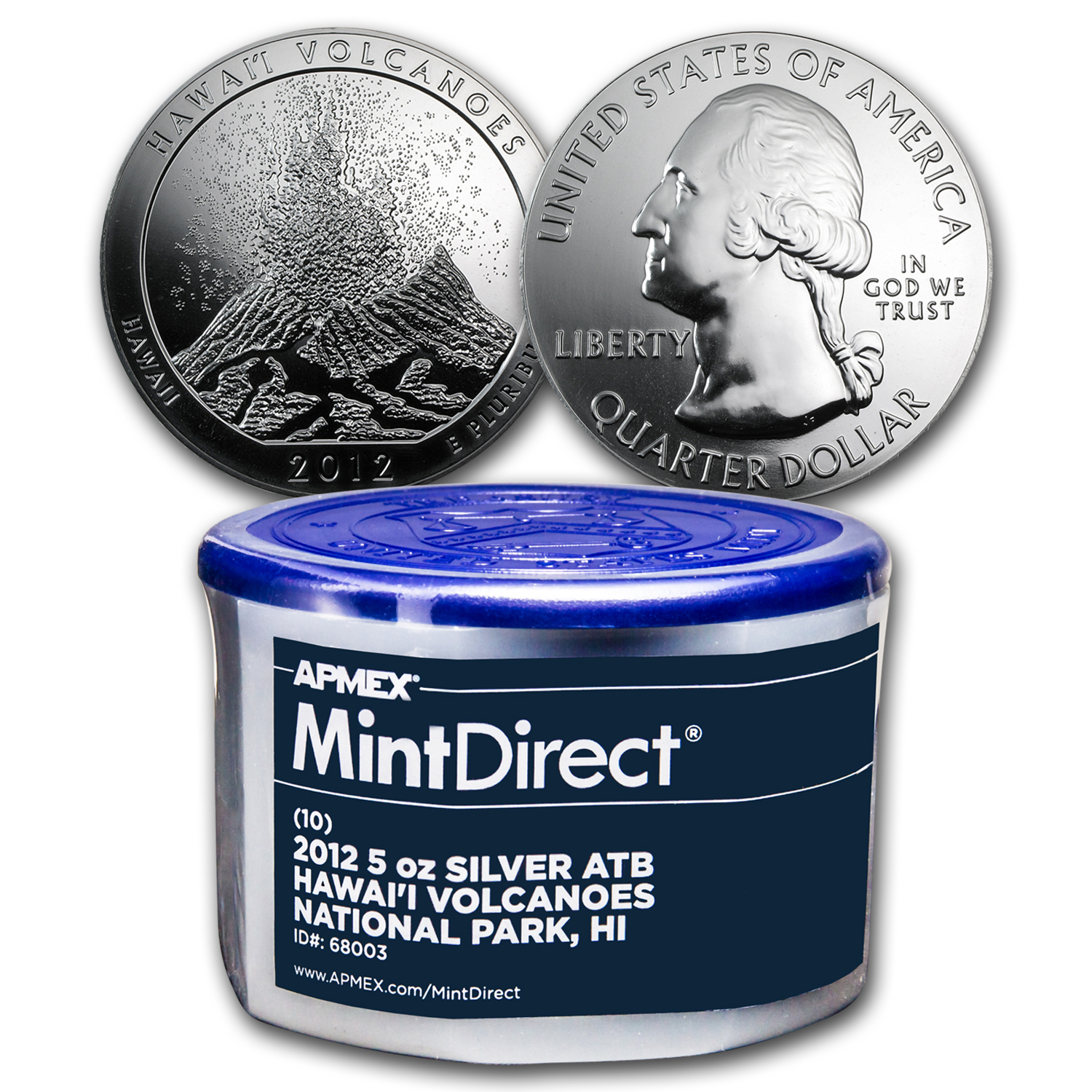 2012 5 oz Silver ATB Hawaii Volcanoes (10-coin MintDirect®)