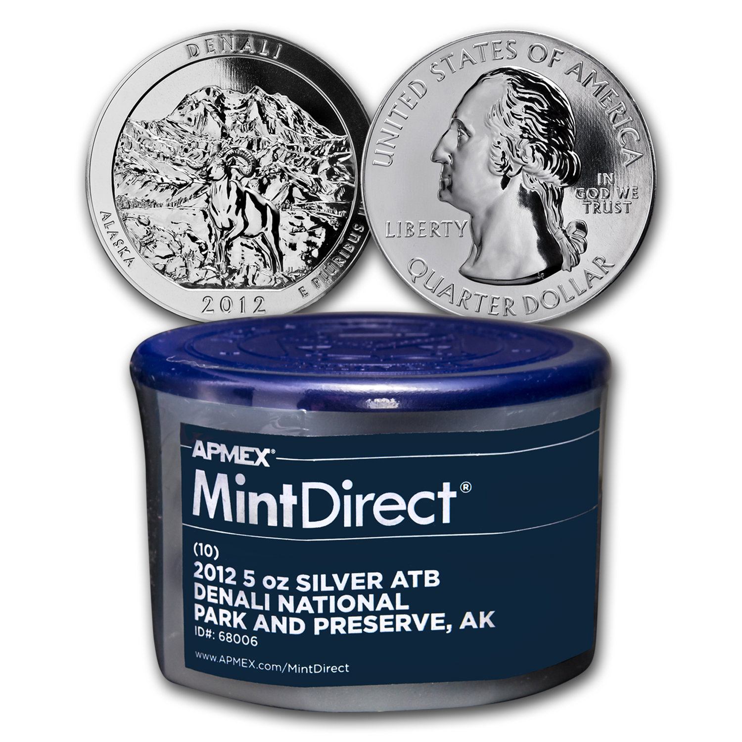 2012 5 oz Silver ATB Denali (10-Coin MintDirect® Tube)