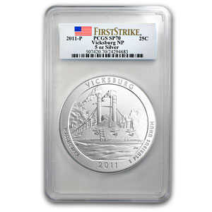 2011-P 5 oz Silver ATB Vicksburg SP-70 First Strike PCGS