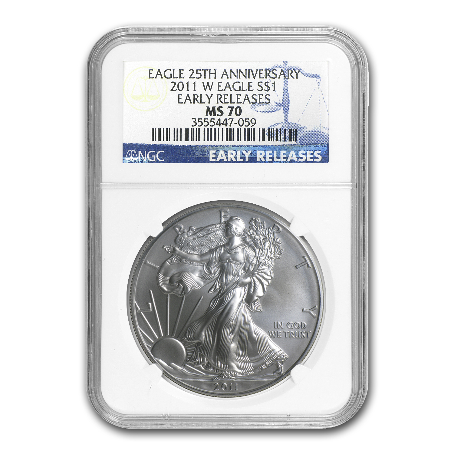 2011-W Burnished Silver Eagle MS-70 NGC (ER, 25th Ann, Blue Lbl)